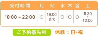 受付時間:月・木・金10:00~22:00、火10:00~19:00、土8:30~11:30。休診日:水・日・祝